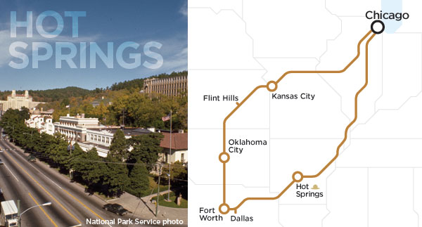 Hot Springs, Arkansas and our spring break route.