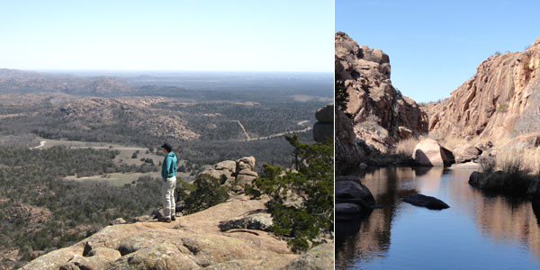 Wichita Mountains National Wildlife Preserve: (L) The view from Elk Mountain. (R) The Narrows.