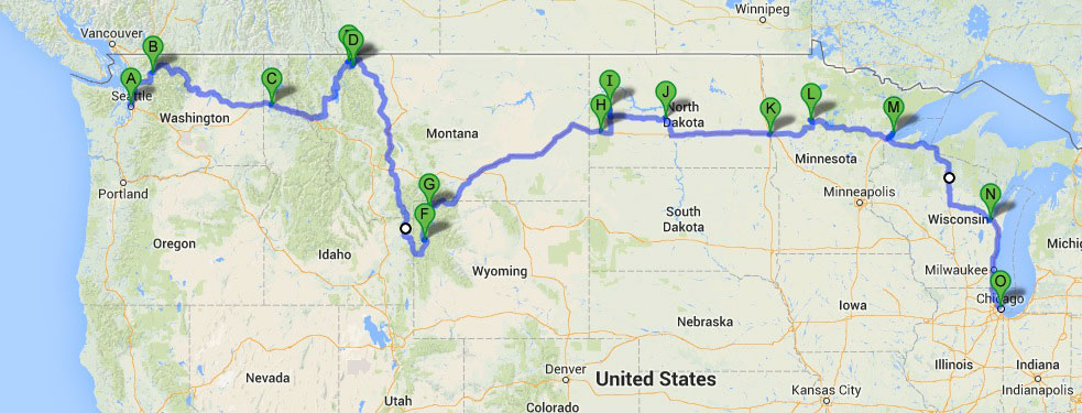 Seattle to Chicago: Final Route Map | highkicktravel