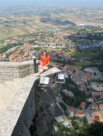 Neil on the parapet wall - Don't look down!