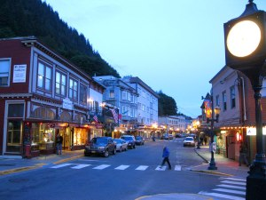 Evening in downtown Juneau.
