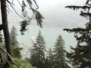 Looking down at the Gastineau Channel from the Mt. Roberts Trail.