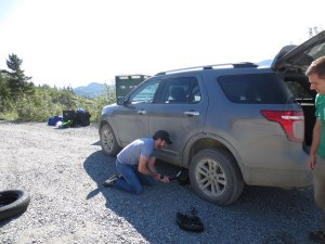 Flat tire on McCarthy Road.