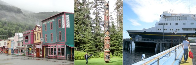 Broadway Street in Skagway, Totems in Sitka and the Columbia docked in Ketchikan.