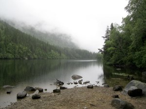 Lower Dewey Lake on a  misty afternoon.