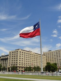 The Chilean flag is a common sight everywhere in the country, this enormous one flies in front of La Moneda.