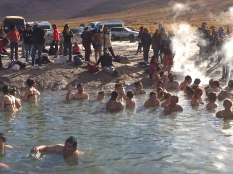 Neil taking a dip in the warm springs at El Tatio.