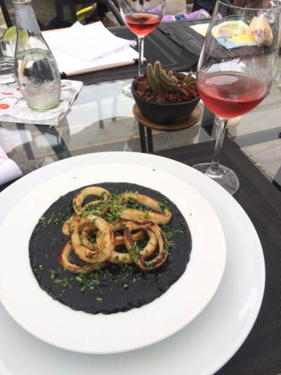 Lunch at La Loba restaurant. Risotto in squid ink with calamari, yum!