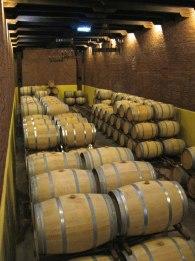 Laura Hartwig's barrel aging cellar.