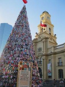 Holiday spirit in Santiago's Plaza de Armas.