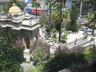 The park is a maze of stairways and fountains leading to an overlook at the summit.