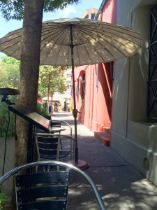 Sidewalk dining at Cafe Geometrico in Lastarria.