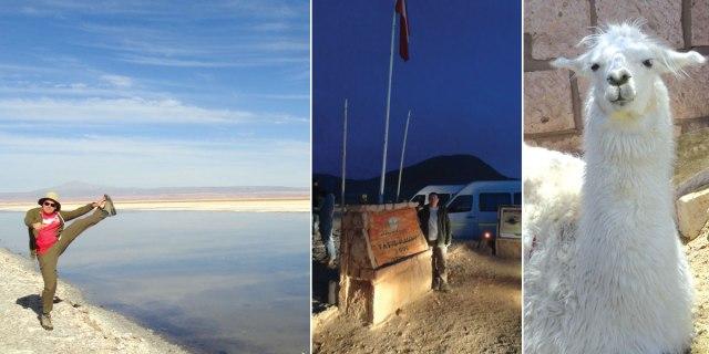 Left: Salar de Atacama high kick. Center: Arriving at El Tatio at 6:30am. Right: What an idiot.