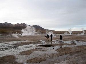 El Tatio geyser field just after the crack of dawn.