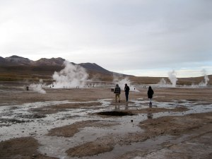 El Tatio geyser field just after the crack of dawn.