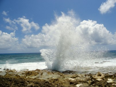 The blowholes on the southern coast of Grand Cayman spout like geysers when waves crash in from the sea.