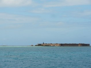 Dry Tortugas National Park is a 2.5 hour boat ride west of Key West. This is the first sight of Fort Jefferson.