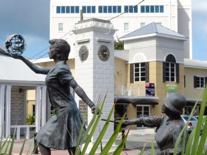 Sculptures in central George Town, Grand Cayman.