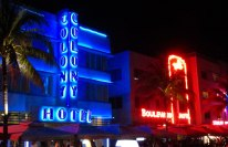 Ocean drive by night is loud and bright.