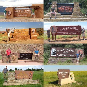 All 8 National Park welcome signs.