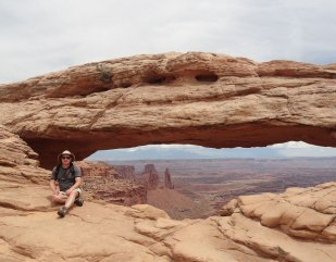 Landscape Arch frames the eastern side of Canyonlands and the La Sal mountains in the distance.