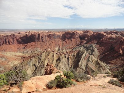 The Upheaval Dome is a circular formation that was either caused by a meteor or an underground salt dome. The jury's still out.