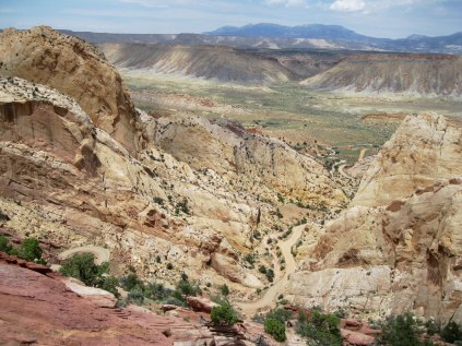 "We entered Capitol Reef in the middle of nowhere by taking the Burr Trail north from Bullfrog, Utah. This set of incredible switchbacks took us up and over the ""waterpocket fold,"" a 100-mile wrinkle of tilted rocks in the landscape."