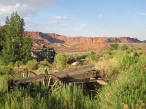 Picturesque old wagons were strategically placed around the Rim Rock Inn near Torrey.