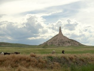 Chimney Rock was another important landmark on the trail west. Just 20 miles down the road from Scott's Bluff.
