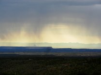 Morning showers viewed from our room at the Far View Lodge. That pointy rock in the distance is Shiprock, nearly 45 miles away in New Mexico.