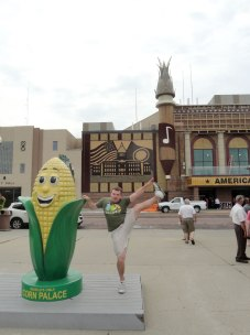 Mitchell Corn Palace in South Dakota. Sadly, the domes were sitting on the sidewalk awaiting installation, but the corn was being nailed on the walls as we watched.