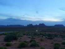 Sunset over Monument valley viewed from the side of Highway 163.