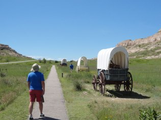 The Oregon Trail passed right by here. Replicas of the wagons they took west are on display for context.