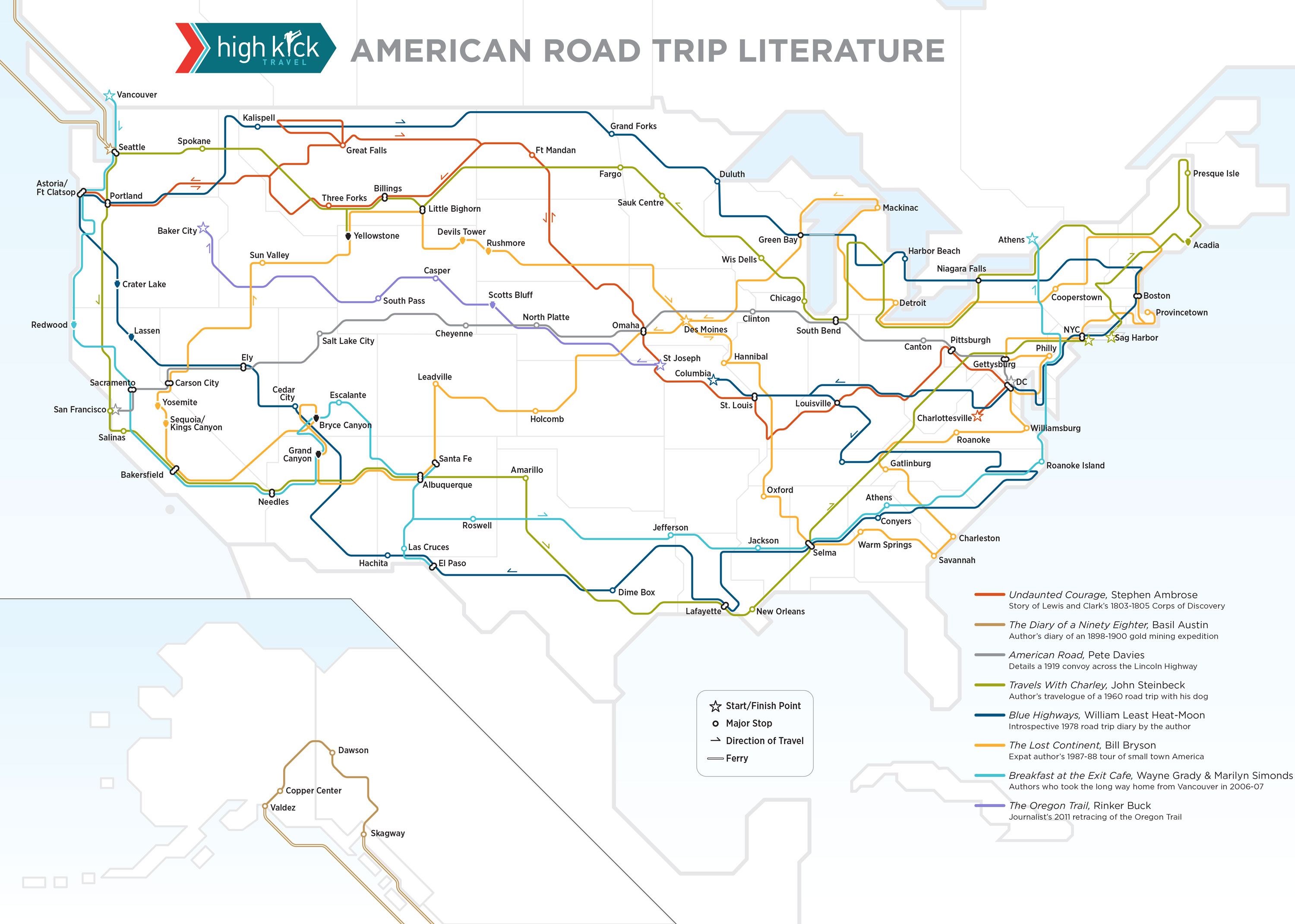 Mapping our favorite American road trip literature – Travels With Charley Map