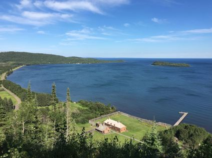 Grand Portage National Monument commemorates a fur trade route that bypassed rapids on the Pigeon River and became a major trading post for voyageurs and natives. This view is from Mt. Rose