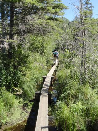 We began our hiking from McCargoe Cove and headed to West Chickenbone Lake. Lots of trail is on these elevated planks over wetlands.