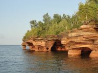 The first stop on our trip was Apostle Islands National Lakeshore in Wisconsin. This is the northern shore of Devil's Island, where Lake Superior's intense waves have eroded these sea caves.