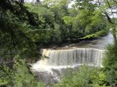 Upper Tahquamenon Falls in Michigan's Upper Peninsula is 50 feet tall and 200 feet wide.
