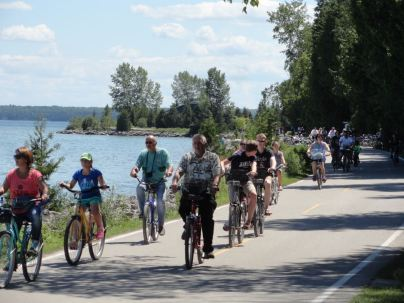 The 8-mile bike route that circles the island can get crowded.