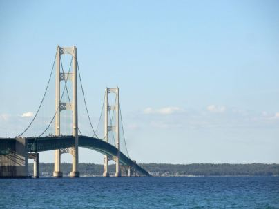 The five-mile-long Mackinac Bridge has connected the two peninsulas of Michigan since its completion in 1957.