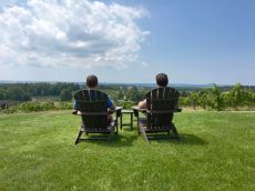 Our third stop was at Chateau Chantal. A photographer taking pictures of the vines saw us sitting here and offered to take this pic. Pure Michigan.