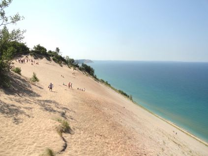 The dunes at Sleeping Bear Dunes National Lakeshore tower 450 feet above Lake Michigan. The people who went down should have thought about what it takes to hike up 450 vertical feet of soft sand.