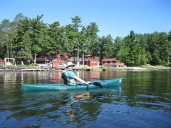 Arrowhead Lodge offers kayaks free of charge for guest use. We used them to paddle 3 miles across Lake Kabetogama to the Locator Lake Trailhead.