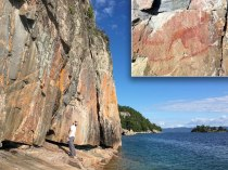 Agawa Rock in Ontario's Lake Superior Provincial Park is the canvas for pictographs that are 150-400 years old.