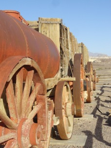 "There was a surprising amount of industrial development in earlier years. This is a ""20 mule team"" wagon that was used to haul borax out of the valley."