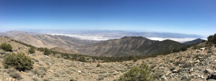 Panorama looking east toward Badwater Basin (whitest spot in the center right), the lowest point in North America at -282 feet.