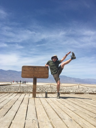 The lowest high kick so far: Badwater Basin.