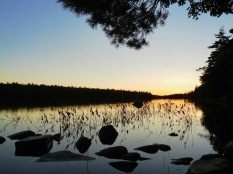 Keji National Park's main section is in the remote center of the province. This is the sunset view of Big Dam Lake from our backcountry campsite.