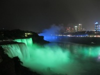 At night a fireworks display takes place in the gorge while the falls are lit by color-changing spotlights.