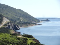 Cape Breton Highlands National Park lies at the northern end of the island. The scenic Cabot Trail road circles the park and clings to the bluffs above the ocean.